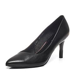 BASTO/百思图2017春季专柜同款黑色小牛皮女皮鞋TI521AQ7