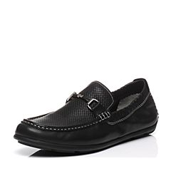 BASTO/百思图2017春季专柜同款黑色牛皮套脚平跟舒适男休闲鞋BFR07AQ7