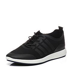BASTO/百思图2017春季专柜同款深黑色布平跟系带运动风男休闲鞋BID02AM7