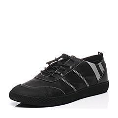 BASTO/百思图2017春季专柜同款黑色牛皮系带拼色舒适男休闲鞋BIF01AM7