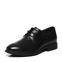 BASTO/百思图2017春季专柜同款黑色牛皮系带商务男皮鞋BIH02AM7
