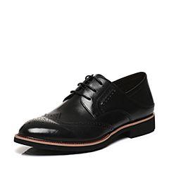 BASTO/百思图2017春季专柜同款黑色牛皮英伦系带男皮鞋AYF04AM7
