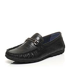 BASTO/百思图2017春季专柜同款黑色牛皮压花软面平跟男休闲鞋BGF03AQ7