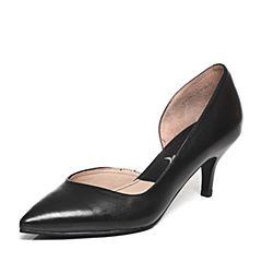 BASTO/百思图2017春季专柜同款黑色羊皮女凉鞋TT905AK7