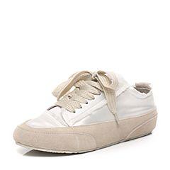BASTO/百思图2017春季白色布时尚舒适平跟系带女休闲鞋DMS17AM7