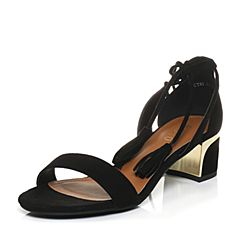 BASTO/百思图夏季专柜同款黑色羊绒皮流苏绑带一字女凉鞋TCT03BL7