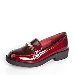 BASTO/百思图2017春季红色牛皮时尚纯色女皮鞋C2355AM7