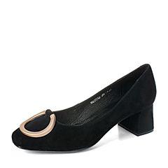 BASTO/百思图秋季专柜同款黑色羊绒皮简约通勤粗中跟女单鞋17C12CQ7
