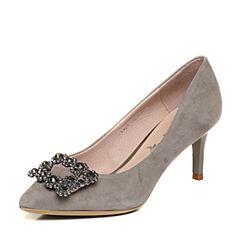 BASTO/百思图秋季专柜同款灰色羊绒皮通勤细高跟尖头女浅口鞋TX823CQ7