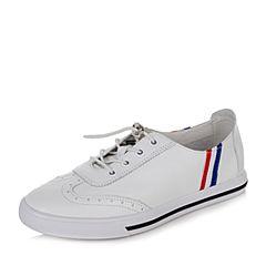 BASTO/百思图2017夏季专柜同款白色软面牛皮百搭平底小白鞋女休闲鞋YIP06BM7