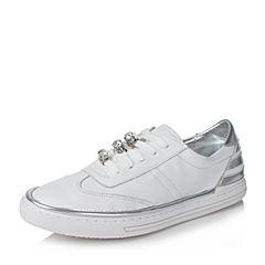 BASTO/百思图2017夏季白色软面牛皮系带水钻平跟女休闲鞋YIP01BM7