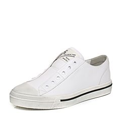 BASTO/百思图秋季白色软面牛皮时尚学院风平跟女休闲鞋YFZ02CM7