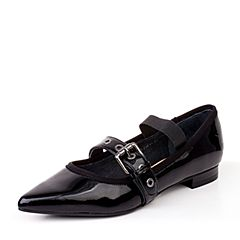 BASTO/百思图秋季黑色牛皮漆皮时尚尖头浅口方跟女单鞋F1600CQ7