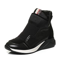 【11.11】BASTO/百思图2017冬季黑色牛皮/弹力布时尚拼接舒适坡跟女休闲鞋32210DD7