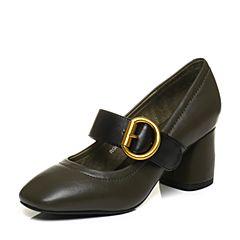 BASTO/百思图秋季专柜同款绿/黑牛皮休闲复古浅口粗跟女单鞋17C40CQ7
