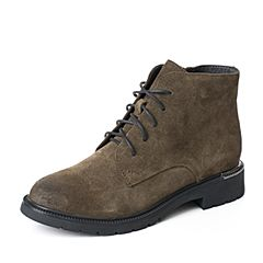 BASTO/百思图2017冬季专柜同款绿色牛剖层皮革系带方跟女皮靴马丁靴17D11DD7