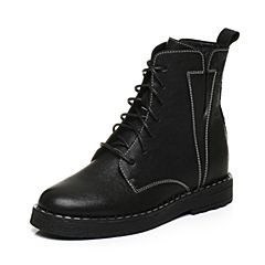 BASTO/百思图2017冬季黑色羊皮交叉系带帅气女中靴马丁靴6391DDZ7