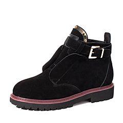 BASTO/百思图2017冬季黑色牛皮休闲金属扣圆头方跟女短靴9113DDD7