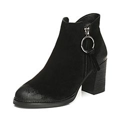 BASTO/百思图2017冬季黑色二层牛皮休闲侧拉链粗高跟女皮靴短靴RAR48DD7