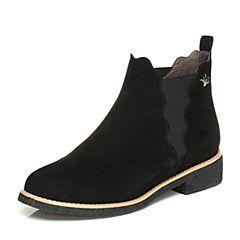 BASTO/百思图2017冬季黑色羊绒皮时尚简约圆头方跟女皮靴短靴THW50DD7