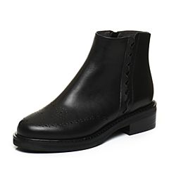 BASTO/百思图2017冬季黑色牛皮休闲镂花车缝线方跟女短靴皮靴TYN43DD7