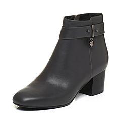 BASTO/百思图2017冬季深灰色牛皮时尚休闲优雅方头粗跟女皮靴短靴TRO49DD7
