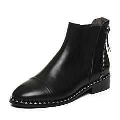 BASTO/百思图2017冬季黑色牛皮时尚休闲圆头方跟女皮靴短靴TRY40DD7
