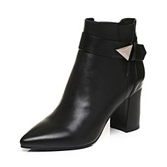 BASTO/百思图2017冬季黑色牛皮简约休闲优雅尖头粗高跟女皮靴TZ748DD7