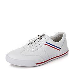 BASTO/百思图秋季专柜同款白色牛皮条纹松紧带平跟小白鞋女休闲鞋YIP11CM7