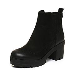 BASTO/百思图2017冬季黑色牛皮时尚休闲镂花粗跟女皮靴短靴TNT52DD7