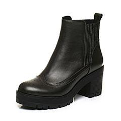 BASTO/百思图2017冬季灰银色牛皮时尚休闲镂花粗跟女皮靴短靴TNT52DD7