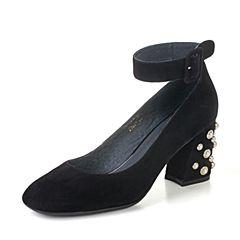 BASTO/百思图秋季专柜同款黑色羊皮珍珠方头浅口粗跟女单鞋17C89CQ7