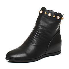 BASTO/百思图2017冬季黑色牛皮珍珠铆钉休闲内增高女皮靴(绒里)75193DZ7