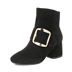 BASTO/百思图2017冬季黑色羊皮时尚简约金属扣侧拉链粗跟女皮靴75511DZ7