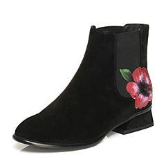 BASTO/百思图2017冬季新品黑色羊绒皮花朵休闲方跟女皮靴短靴98013DD7