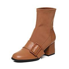 BASTO/百思图2017冬季棕色牛皮/弹力布拼接时尚休闲粗跟女皮靴袜靴7252DDZ7
