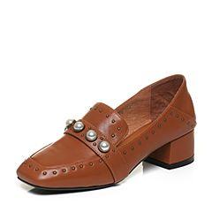 BASTO/百思图秋季棕色羊皮时尚方头珍珠粗中跟女单鞋7Q891CQ7