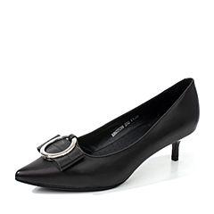 BASTO/百思图秋季专柜同款黑色羊皮简约通勤蝴蝶结细高跟女单鞋17C98CQ7