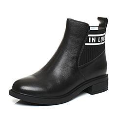 BASTO/百思图2017冬季黑色擦色牛皮字母简约休闲短筒方跟女皮靴RAI46DD7