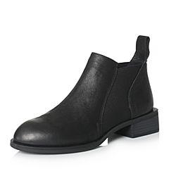 BASTO/百思图冬季专柜同款黑色牛皮/布面女皮靴短靴17D84DD7