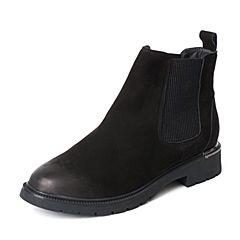 BASTO/百思图冬季专柜同款黑色牛皮帅气方跟切尔西靴女皮靴17D03DD7