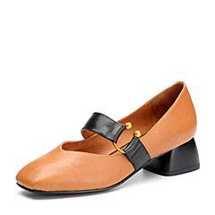 BASTO/百思图2018春季专柜同款棕色牛皮小V口方头奶奶鞋女皮鞋RBG24AQ8
