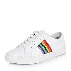 BASTO/百思图2018春季专柜同款白色软面牛皮系带条纹小白鞋女休闲鞋YHQ07AM8