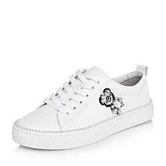 BASTO/百思图2018春季专柜同款白色软面牛皮系带小白鞋女休闲鞋YHQ05AM8