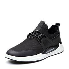 BASTO/百思图2018春季专柜同款黑色编织布/软面牛皮松紧带男休闲鞋BSU01AM8