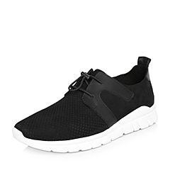 BASTO/百思图2018春季专柜同款黑色磨砂牛皮松紧带男休闲鞋BIV03AM8