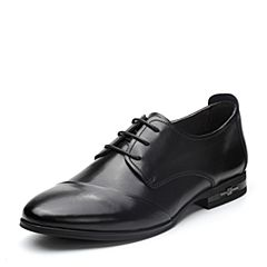 BASTO/百思图2018春季专柜同款黑色打蜡牛皮商务休闲系带男皮鞋AKJ06AM8