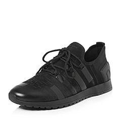 BASTO/百思图2018春季专柜同款黑色磨砂牛皮/布面系带男休闲鞋BHQ90AM8