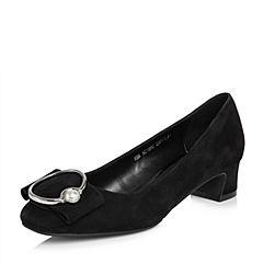 BASTO/百思图2018春季专柜同款黑色羊皮优雅通勤珍珠浅口女单鞋AC185AQ8