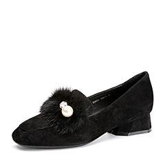 BASTO/百思图2018春季专柜同款黑色羊绒皮珍珠休闲方头粗跟女单鞋RDN34AM8